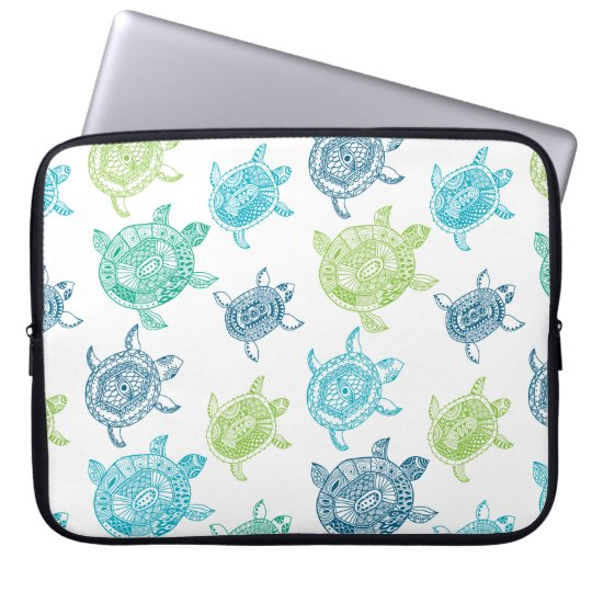 Blue and Green Turtles Laptop Sleeve