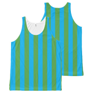 Blue and Green Vertical Stripes All-Over Print Tank Top