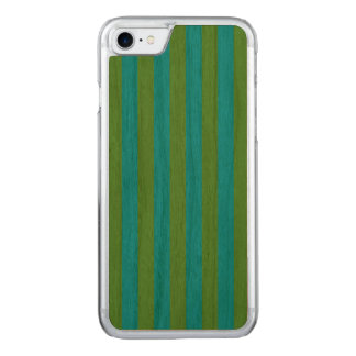 Blue and Green Vertical Stripes Carved iPhone 7 Case