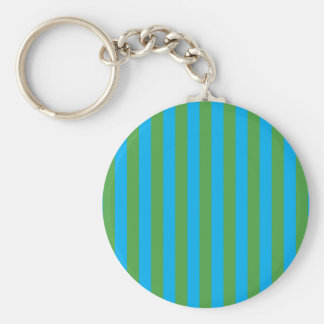 Blue and Green Vertical Stripes Key Ring
