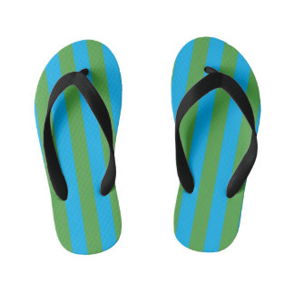 Blue and Green Vertical Stripes Kid's Thongs