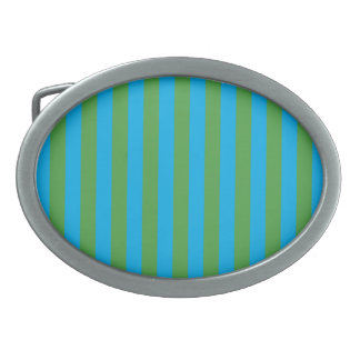 Blue and Green Vertical Stripes Oval Belt Buckles