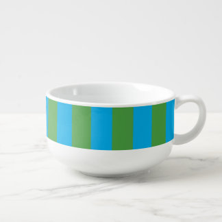 Blue and Green Vertical Stripes Soup Mug