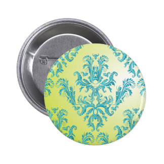 Blue and Green Vintage Damask Button