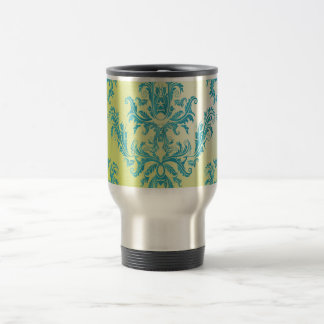 Blue and Green Vintage Damask Coffee Mugs