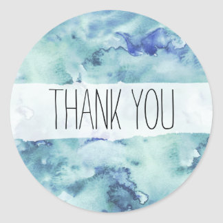 Blue and Green Watercolor Thank You Sticker