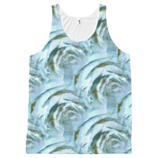 Blue and Green Wood Rose Pattern All-Over Print Tank Top