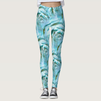 Blue and Green Wood Rose Patterned Leggings