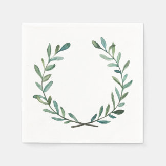 Blue and Green Wreath Paper Serviettes