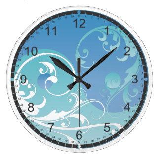 Blue and Green Yin & Yang Large Clock