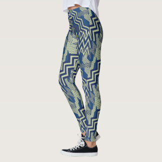Blue and Green Zigzag Patterns Leggings