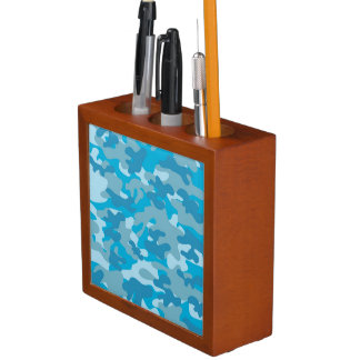 Blue and Grey Camo Design Desk Organiser