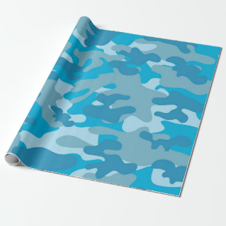 Blue and Grey Camo Design Wrapping Paper