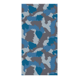 Blue and Grey Camouflage Photo Greeting Card