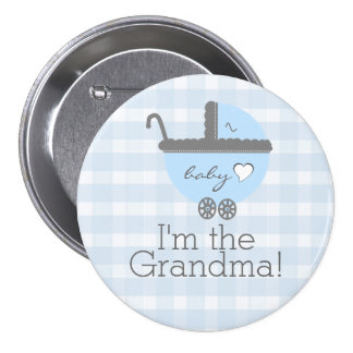 Blue and Grey Carriage Gingham Baby Shower Grandma 7.5 Cm Round Badge