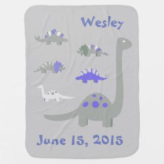 Blue and Grey Dinosaur Baby Blanket