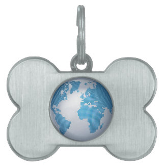 Blue and Grey Globe Pet Tag