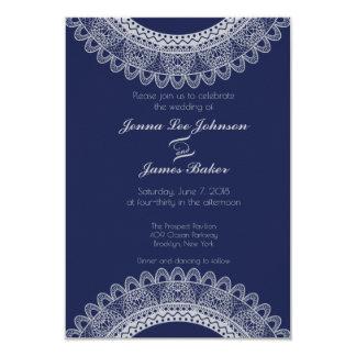Blue and Grey Lace Wedding Invitation