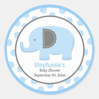 Blue and Grey Mod Elephant Round Sticker