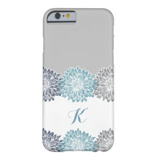 Blue and Grey, Monogram with Mums Barely There iPhone 6 Case