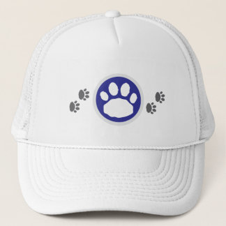 Blue and Grey Paw Prints Trucker Hat