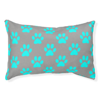Blue and grey paws pattern pet bed