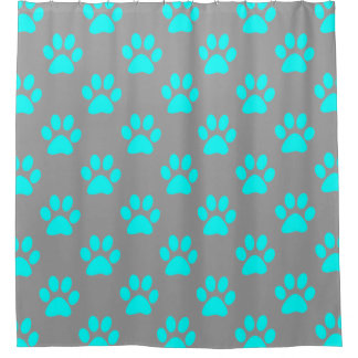 Blue and grey paws pattern shower curtain