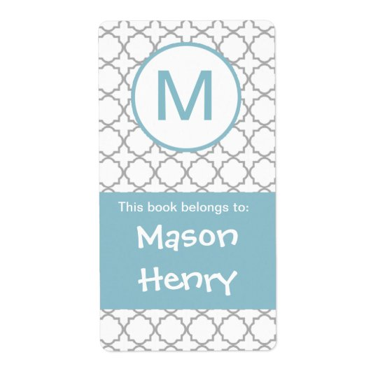 Blue and Grey Quatrefoil Initial bookplate Shipping Label