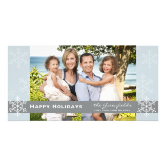 Blue and Grey Snowflake Holiday Card Customized Photo Card