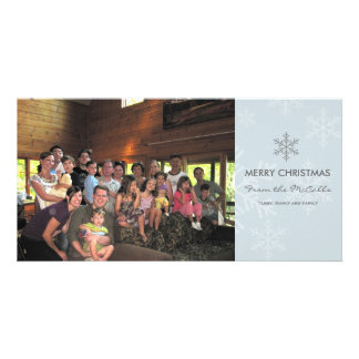 Blue and Grey Snowflake Holiday Card Photo Card Template