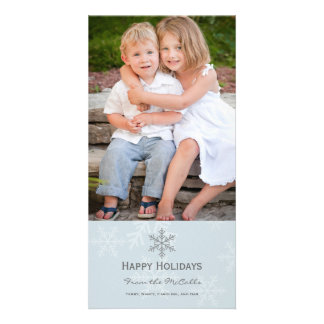 Blue and Grey Snowflake Holiday Card Picture Card