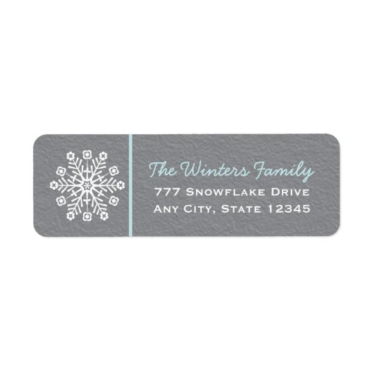 Blue and Grey Snowflake Return Address Labels