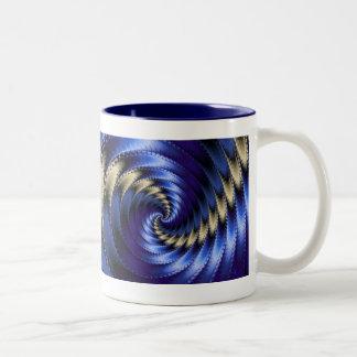 Blue And Grey Spiral Fractal Two-Tone Mug