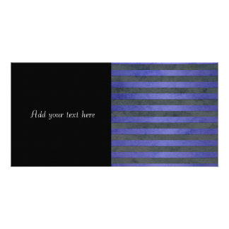 Blue and Grey Stripes Pattern Personalized Photo Card