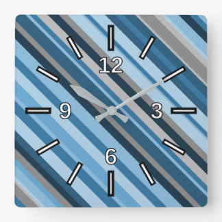 Blue and Grey Stripes Square Clock