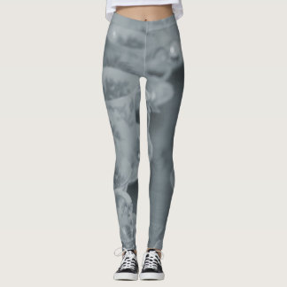 Blue and grey tea cup pattern leggings
