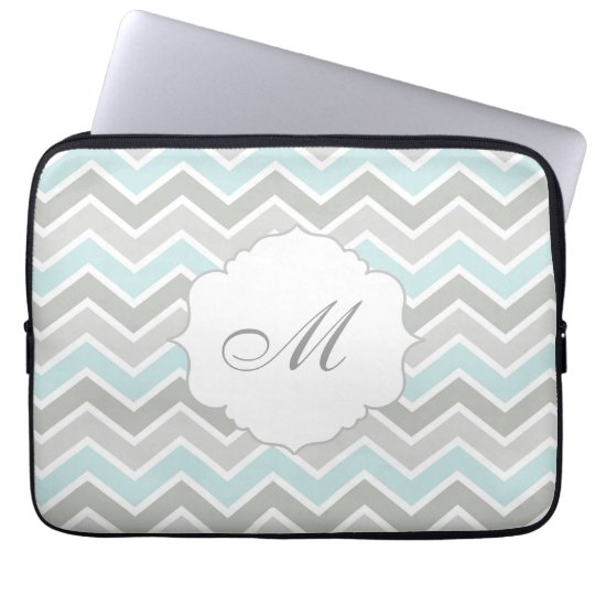 Blue and Grey Zigzag Chevron Monogram Laptop Sleeve