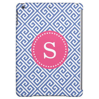 Blue and Hot Pink Greek Key Custom Monogram Case For iPad Air