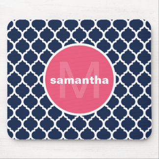 Blue and Hot Pink Quatrefoil Monogram Mouse Pad