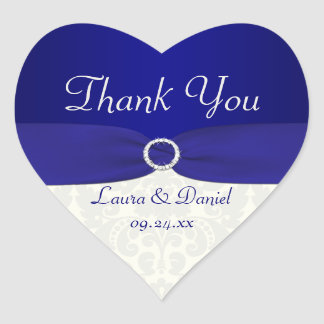Blue and Ivory Damask Heart Shaped Wedding Sticker