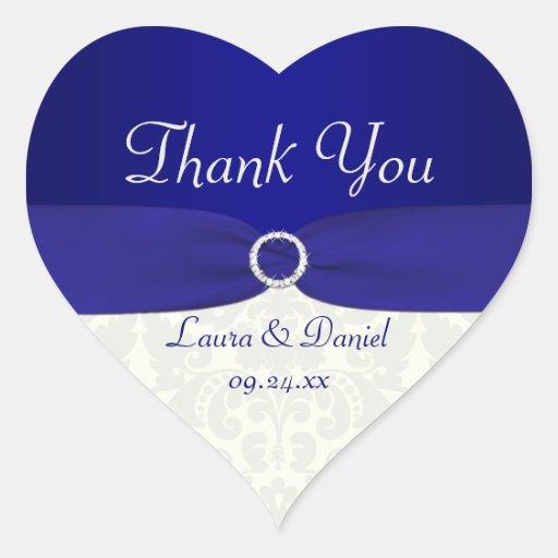 Blue and Ivory Damask Heart Shaped Wedding Sticker