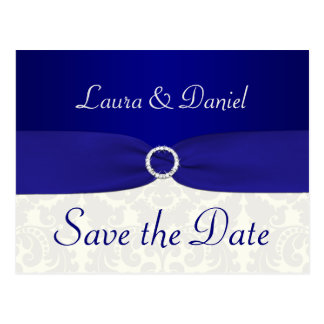 Blue and Ivory Damask Save the Date Postcard