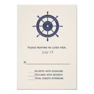 Blue and Ivory Nautical Themed Wedding RSVP Card