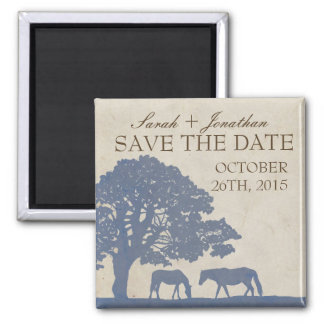 Blue and Ivory Vintage Horse Farm Save The Date Square Magnet