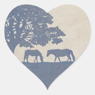 Blue and Ivory Vintage Horse Farm Wedding Heart Sticker