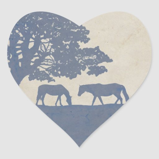 Blue and Ivory Vintage Horse Farm Wedding Sticker