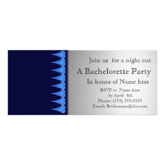 Blue and lace bachelorette party invitation