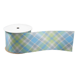 Blue and light green plaid ribbon satin ribbon