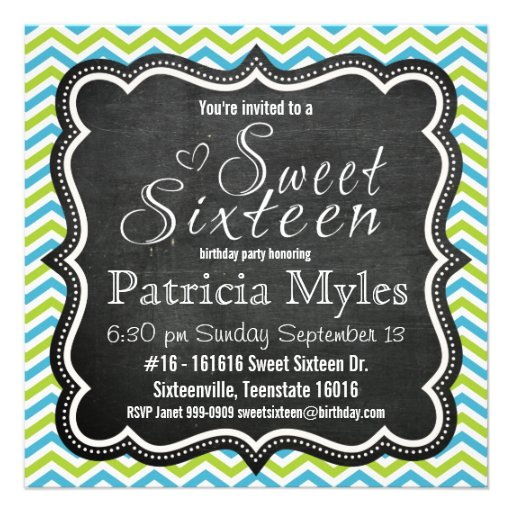 Blue and Lime Chevron Chalkboard Sweet 16 Party Personalized Invite