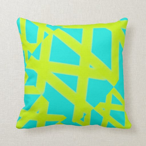 Blue and Lime Green Geometric Fractals Pillows